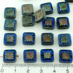 Flower Square Window Table Cut Flat Czech Beads - Picasso Blue Rustic - 10mm