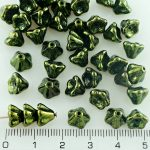 Bell Flower Caps Czech Beads - Metallic Green Luster - 8mm