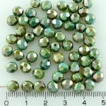 Round Faceted Fire Polished Czech Beads - Picasso Brown Blue Luster - 6mm