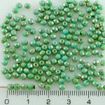 Round Faceted Fire Polished Czech Beads - Silver Picasso Opaque Turquoise Blue - 3mm
