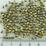 Round Faceted Fire Polished Czech Beads - Opaque Gray Gold - 3mm