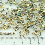 Round Faceted Fire Polished Czech Beads - Crystal Golden Rainbow - 3mm