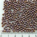 Round Czech Beads - Picasso Purple Luster Glaze - 3mm