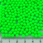 Round Czech Beads - UV Active Neon Green Matte - 4mm