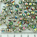 Round Czech Beads - Crystal Metallic Vitrail Green Pink Half - 6mm