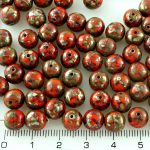 Round Czech Beads - Picasso Orange Silver - 8mm