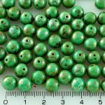 Round Czech Beads - Picasso Turquoise Green Silver - 8mm