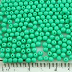 Round Czech Beads - Opaque Turquoise Green - 4mm