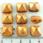 Pyramid Stud Two Hole Czech Beads - Pink Picasso Luster - 12mm