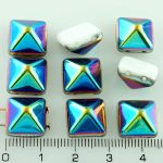 Pyramid Stud Two Hole Czech Beads - White Vitrail Half - 12mm