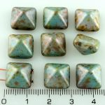 Pyramid Stud Two Hole Czech Beads - Picasso Blue Green Brown - 12mm