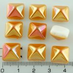 Pyramid Stud Two Hole Czech Beads - White Apricot Orange Half - 12mm