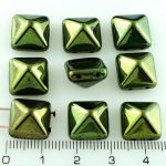 Pyramid Stud Two Hole Czech Beads - Metallic Green Luster - 12mm
