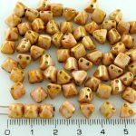 Pyramid Stud Two Hole Czech Beads - Picasso Pink Luster - 6mm