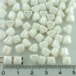 Pyramid Stud Two Hole Czech Beads - Opaque Luster White - 6mm