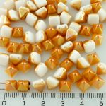 Pyramid Stud Two Hole Czech Beads - White Apricot Orange Half - 6mm