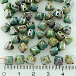 Pyramid Stud Two Hole Czech Beads - Picasso Brown Blue Luster - 6mm