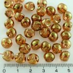Mushroom Czech Beads - Crystal Picasso Red Gold Luster Terracotta - 9mm