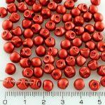 Mushroom Czech Beads - Matte Lava Red - 6mm