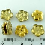 Flower Cup Large Flat Czech Beads - Crystal Metallic Gold Half - 14mm