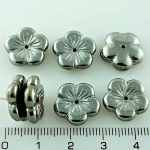Flower Cup Large Flat Czech Beads - Metallic Dark Silver Chrome Luster - 14mm