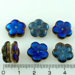 Flower Cup Large Flat Czech Beads - Crystal Metallic Blue Azure Black Half - 14mm