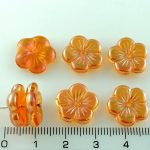 Flower Cup Large Flat Czech Beads - Crystal Yellow Orange Apricot Luster - 14mm