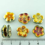 Flower Cup Large Flat Czech Beads - Metallic Marea Gold Crystal - 14mm