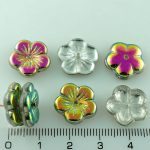 Flower Cup Large Flat Czech Beads - Crystal Purple Green Yellow Vitrail Half - 14mm