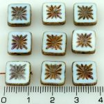 Flower Square Window Table Cut Flat Czech Beads - Picasso White Luster Purple Gold Shine - 10mm