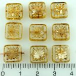 Flower Square Window Table Cut Flat Czech Beads - Crystal Silver Marble Picasso - 10mm