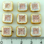 Flower Square Window Table Cut Flat Czech Beads - Picasso Brown White Silver Pink - 10mm