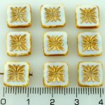 Flower Square Window Table Cut Flat Czech Beads - Picasso Brown White Gold - 10mm