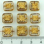 Flower Square Window Table Cut Flat Czech Beads - Picasso Crystal Gold - 10mm