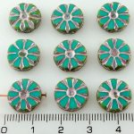 Flower Coin Table Cut Flat Czech Beads - Picasso Turquoise Green Silver Pink - 12mm