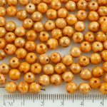 Round Czech Beads - Picasso Silver Pink Opaque - 6mm