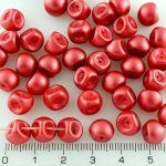 Mushroom Czech Beads - Pastel Pearl Dark Coral Red - 9mm