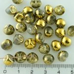 Mushroom Czech Beads - Crystal Metallic Gold Half - 9mm