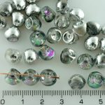 Mushroom Czech Beads - Crystal Silver Purple Half - 9mm