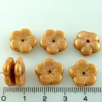 Flower Cup Large Flat Czech Beads - Pink Gold Luster - 14mm