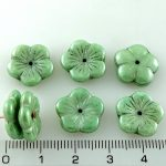 Flower Cup Large Flat Czech Beads - Italian Green Luster - 14mm