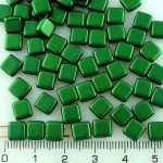 Two Hole Czech Beads - Gold Shine Dark Green - 6mm
