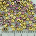 Forget-Me-Not Flower Czech Small Flat Beads - California Green Purple Gold - 5mm