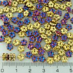 Forget-Me-Not Flower Czech Small Flat Beads - California Purple Violet Gold Half - 5mm