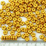 Forget-Me-Not Flower Czech Small Flat Beads - Matte Gold Shine Yellow - 5mm