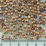 Round Czech Beads - Crystal Copper Rainbow - 4mm