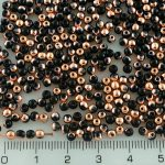 Round Czech Beads - Black Capri Gold Half - 3mm