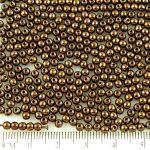 Round Czech Beads - Metallic Light Bronze Luster - 3mm