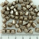 Pyramid Stud Two Hole Czech Beads - Pearl Pastel Taupe Gray Brown - 6mm