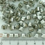 Pyramid Stud Two Hole Czech Beads - Crystal Silver Half - 6mm